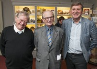 Gerry Isaaman with his successor Matthew Lewin and current editor-in-chief Geoff Martin