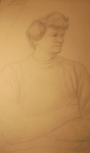 Sketch of a seated person