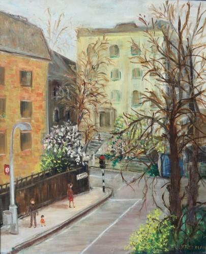 Oil painting of England's Lane, Hampstead by Lily Freeman
